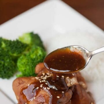 pressure cooker shoyu chicken with broccoli and rice
