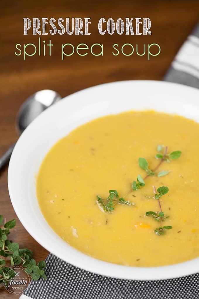 split pea soup in bowl