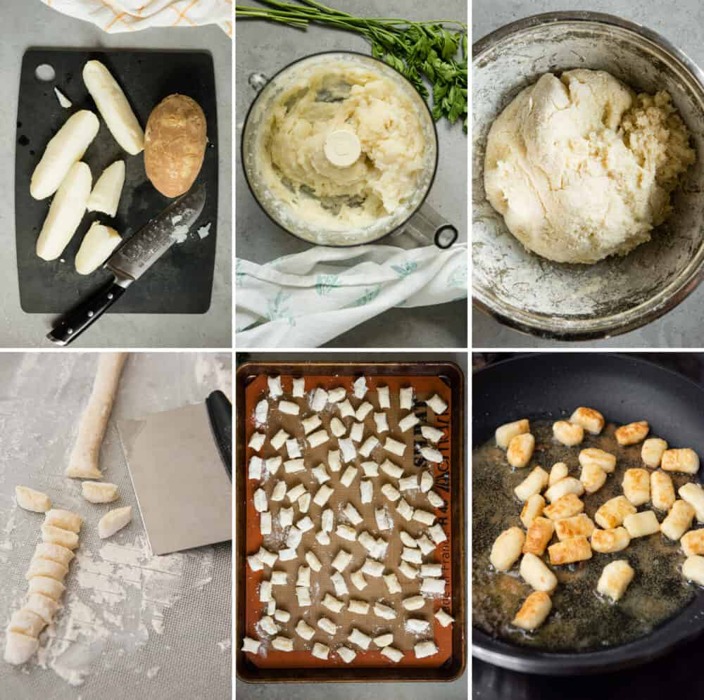 six process photos on how to make homemade gnocchi