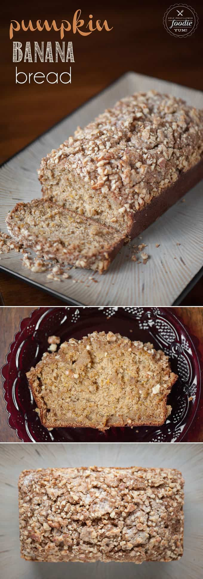 Pumpkin Banana Bread with Walnut Streusel topping celebrates the best of fall. The pumpkin and banana make it the most moist banana bread ever!