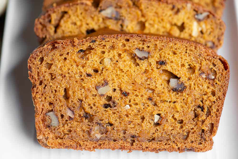 close up photo of pumpkin bread slice