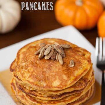 a stack of pumpkin buttermilk pancakes