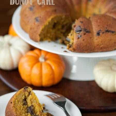 This incredibly moist homemade Pumpkin Chocolate Chip Bundt Cake has just the right amount of sweet by combining decadent cake with a chocolate chunk middle.