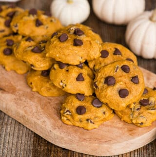 homemade Pumpkin Chocolate Chip Cookies on wooden platter