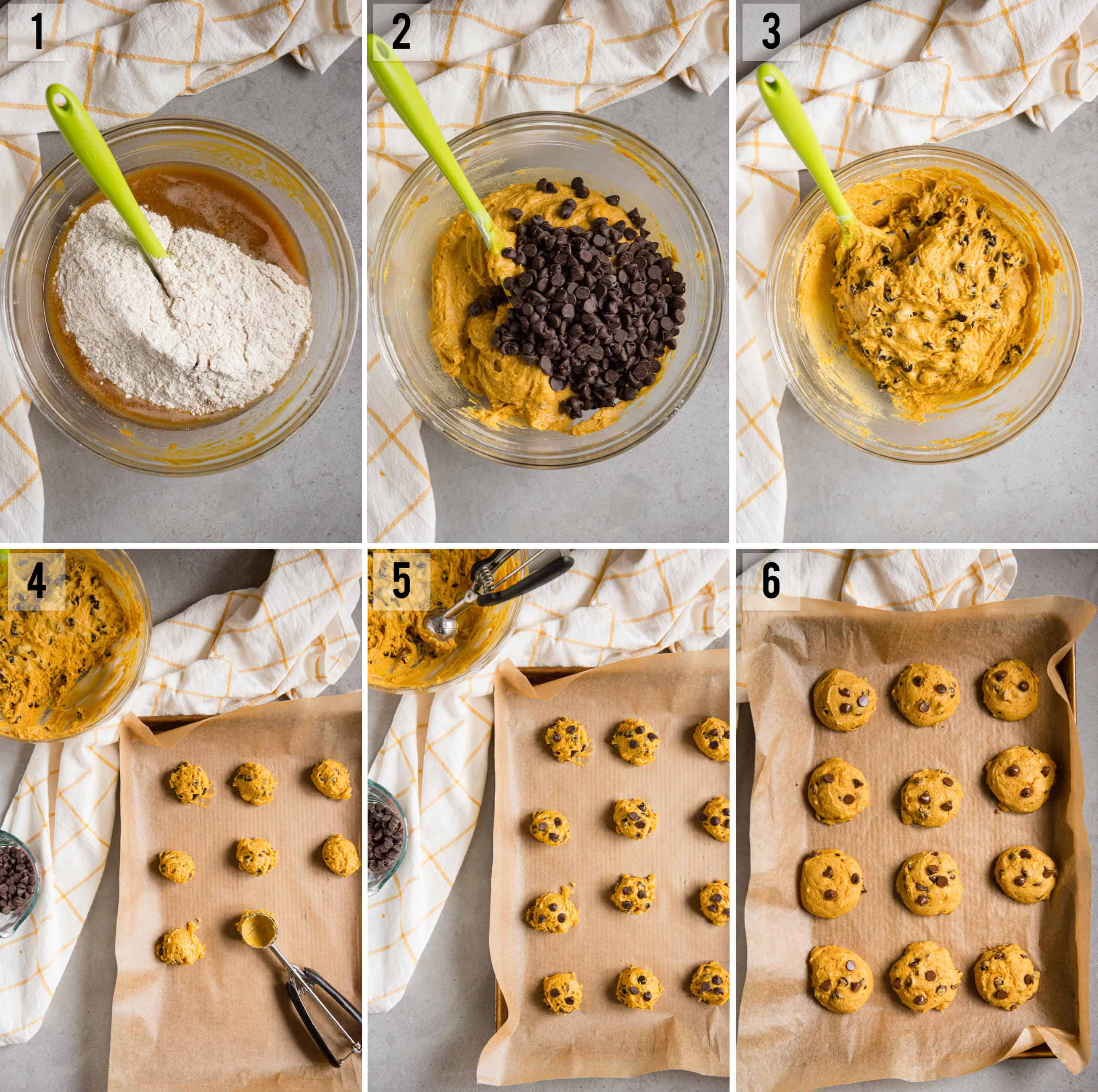 step by step instructions on how to make Pumpkin Chocolate Chip Cookies