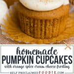 Pumpkin Cupcakes with a Citrus Cream Cheese Frosting