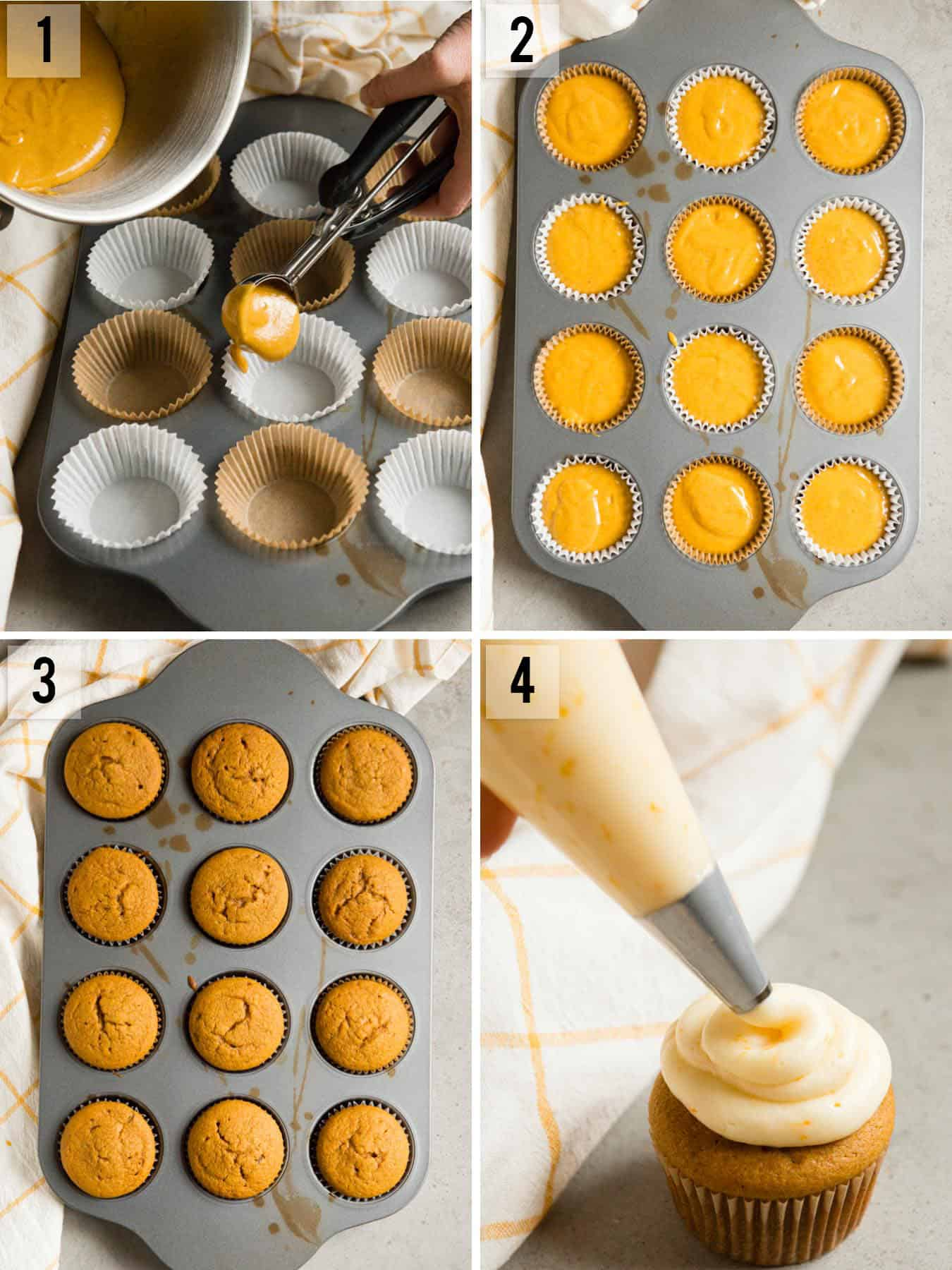 Pumpkin Cupcakes with a Citrus Cream Cheese Frosting process photos