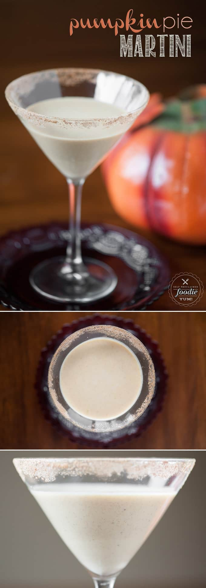 This Pumpkin Pie Martini is a perfect Fall cocktail. It is so rich and creamy that it really does taste like pumpkin pie, but with a boozy kick.