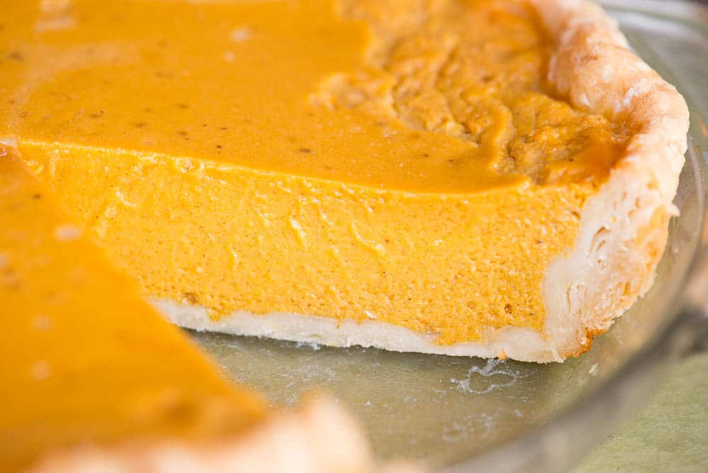 Pumpkin Pie with slice cut out