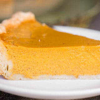 slice of Homemade classic Pumpkin Pie