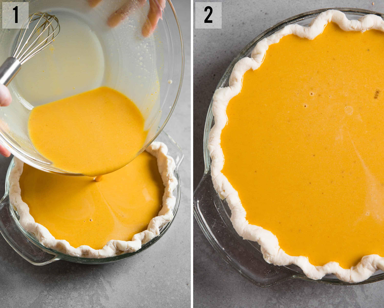 Homemade classic Pumpkin Pie process photos