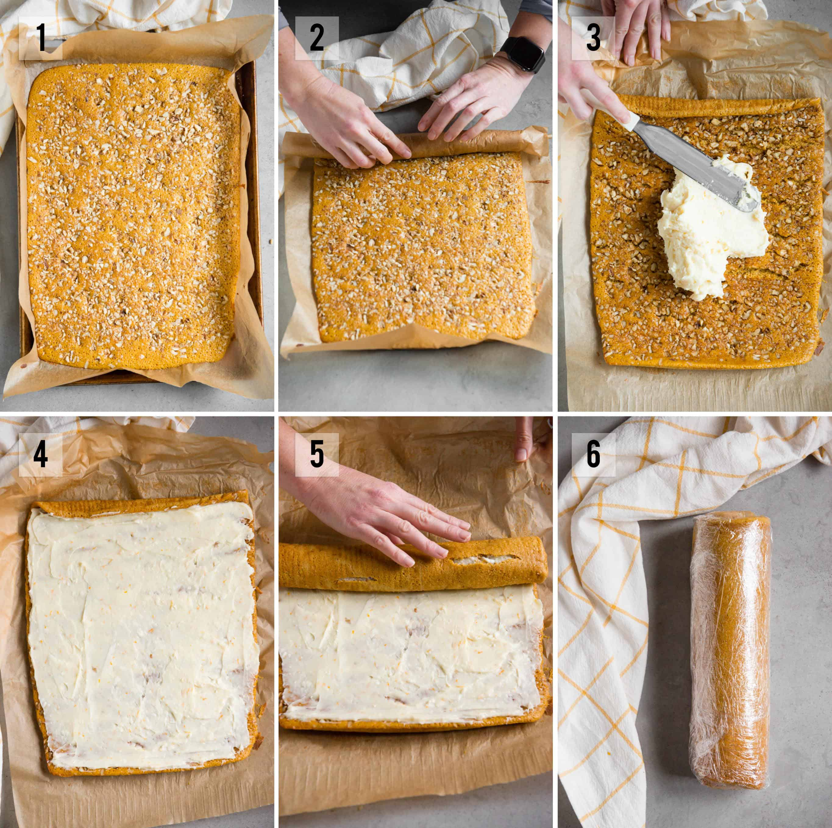 Pumpkin Roll process photos with filling