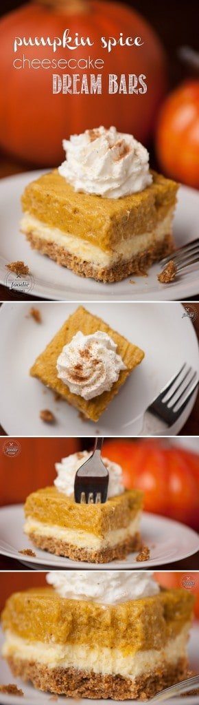 These Pumpkin Spice Cheesecake Dream Bars have a Pumpkin Spice Mini Wheat crust, a cheesecake middle, and a pumpkin top layer & make the ultimate fall treat.