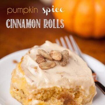 pumpkin spice cinnamon rolls on a plate