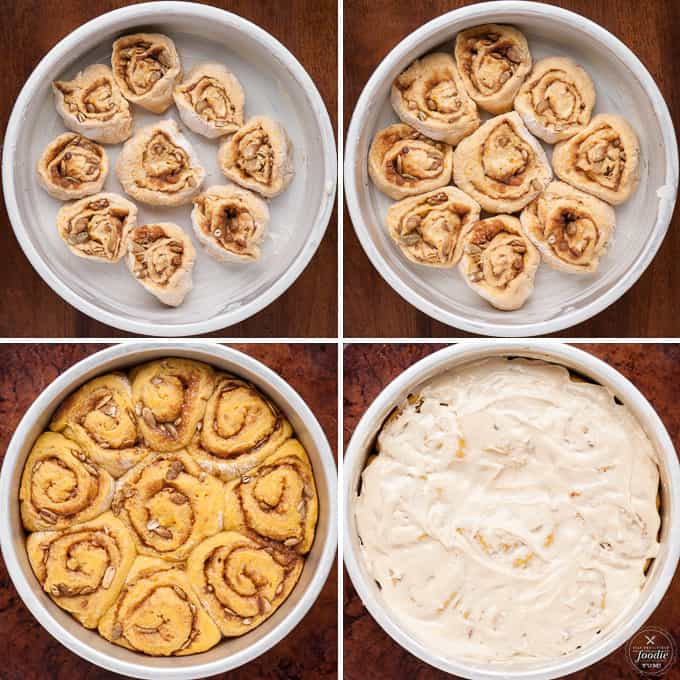 These super soft and delicious homemade from scratch Pumpkin Spice Cinnamon Rolls are made with real pumpkin and have an added pumpkin seed crunch.