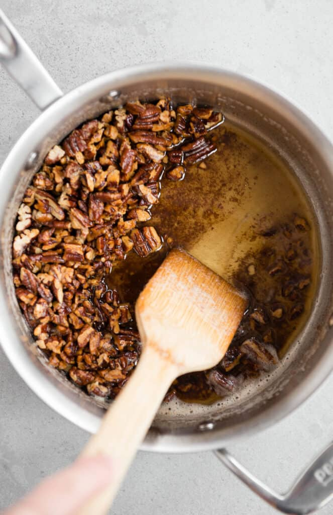 brown butter with pecans in pot