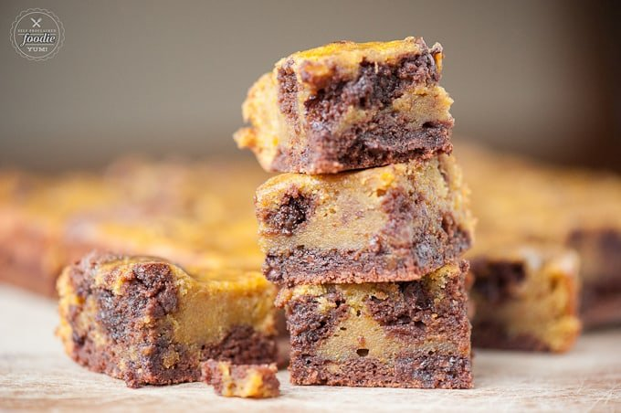 Pumpkin Swirl Brownies, homemade from scratch with chocolate chips, are moist, incredibly delicious, and possibly the best fall dessert I've ever had!