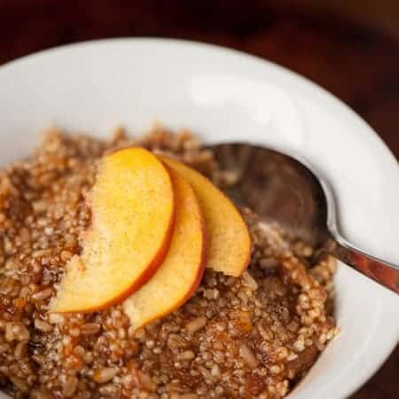 I made Quinoa Oatmeal with Ginger Peach Compote for breakfast because I was looking for a healthy, energizing, and tasty way to fuel my body in the morning.
