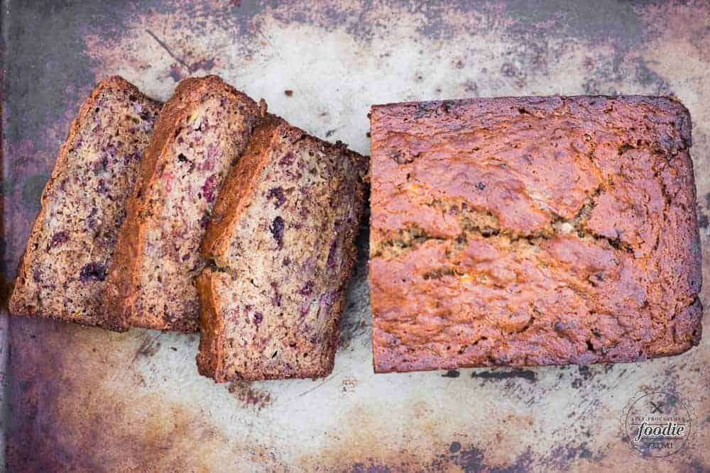 Moist banana bread recipe made with freeze dried raspberries