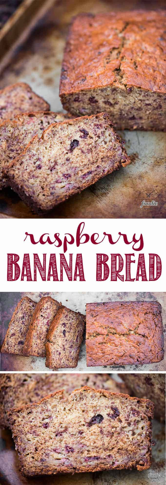 Raspberry Banana Bread uses a traditional, moist, easy banana bread recipe and incorporates freeze dried raspberries. Perfect for breakfast or as a snack on the go, Raspberry Banana Bread is a new way to enjoy this traditional favorite recipe! #rasberry #bananabread #raspberrybananabread #easyrecipe