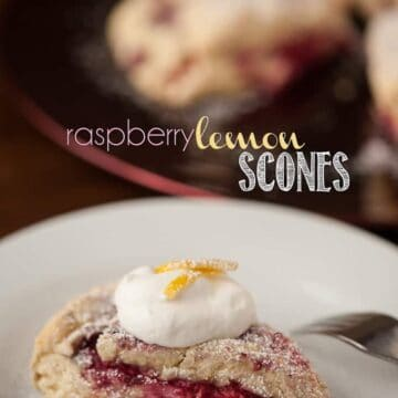 homemade raspberry lemon scone with cream