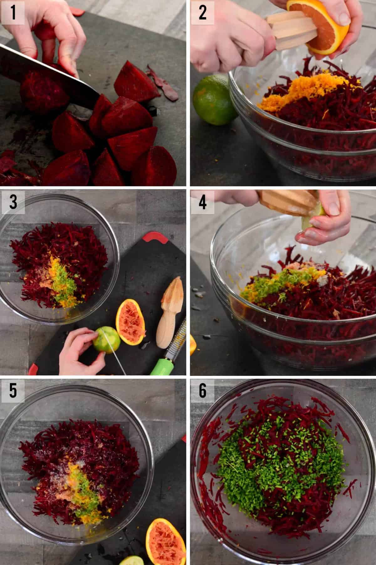 process photos of how to make raw beet salad with shredded beets and citrus