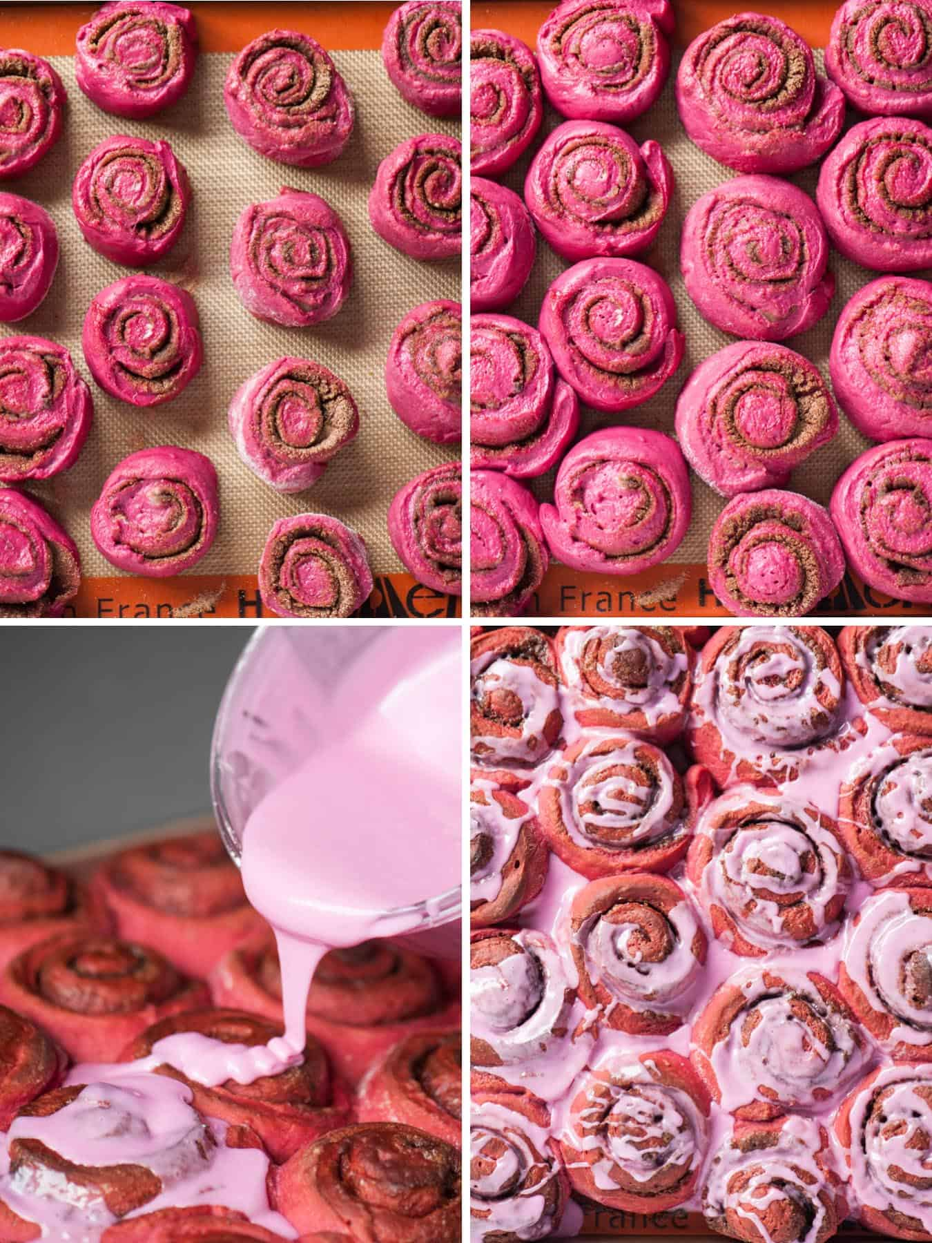 process photos of homemade pink cinnamon rolls with icing