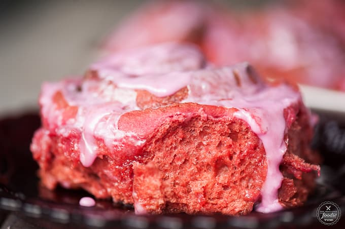Red Velvet {Beet} Cinnamon Rolls are a super soft and naturally dark pink breakfast pastry that are perfect for a Valentine's Day breakfast.