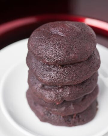 Made without artificial food dye, these incredibly soft and delicious Red Velvet Chocolate Chunk Cookies are made with beet puree and cocoa powder.