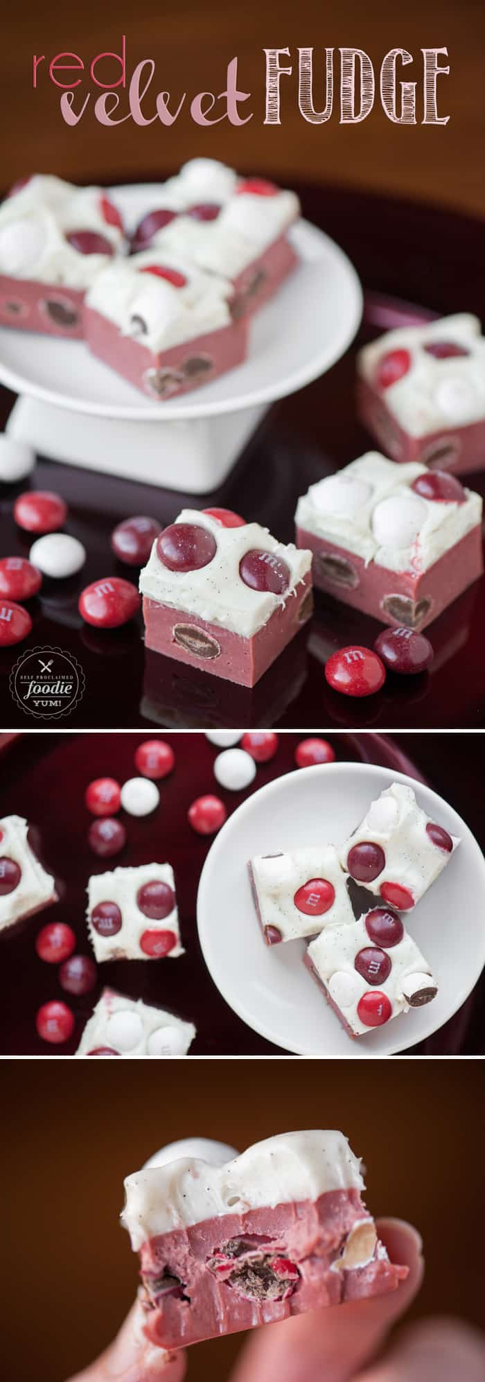 This two bite mouthwatering M&M's Red Velvet Fudge is the perfect Valentine's sweet treat to share with friends and family.