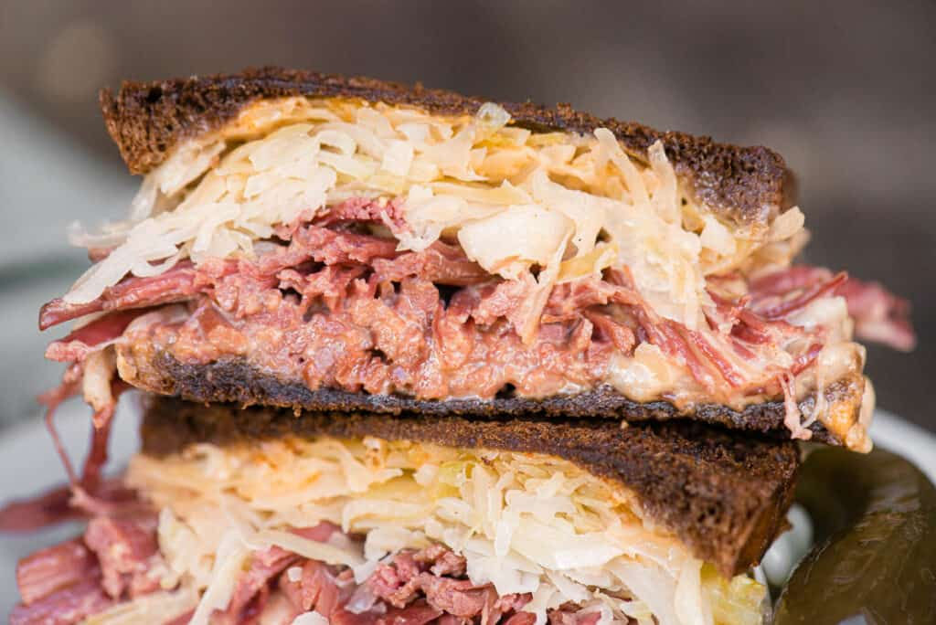 close up of a homemade Reuben Sandwich