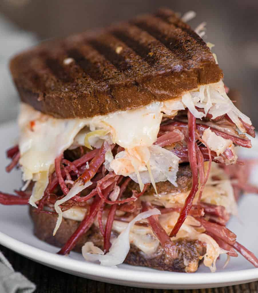 messy homemade Reuben Sandwich