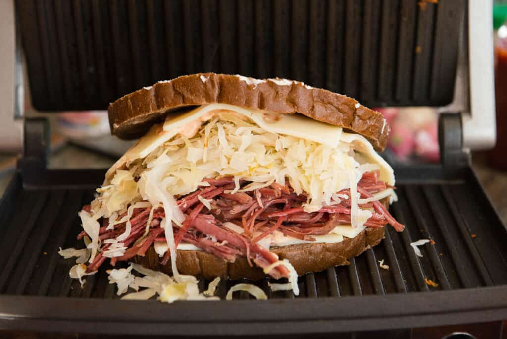 Reuben Sandwich on griddle