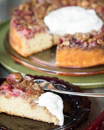 Upside Down Rhubarb Walnut Cake is a heavenly summer dessert made perfect with a moist cake topped with a sweet and tart crunchy fruit topping.