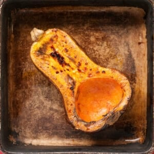 half of a roasted butternut squash
