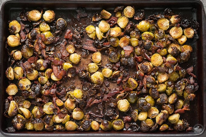 roasted brussel sprouts with balsamic and bacon