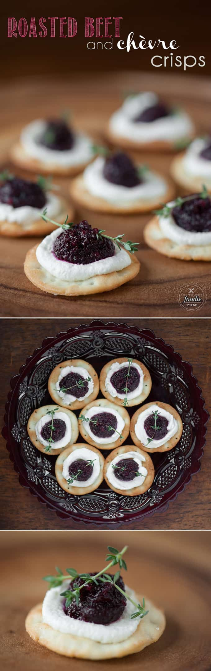 Roasted Beet and Chèvre Crisps are delicious bite sized appetizers made of roasted garlic and beets over creamy goat cheese. Perfect for Fall entertaining.