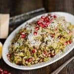 Roasted Brussels Sprouts Salad with parmesan, pomegranate, and a light lemon vinaigrette, is the perfect salad for any holiday or family dinner.