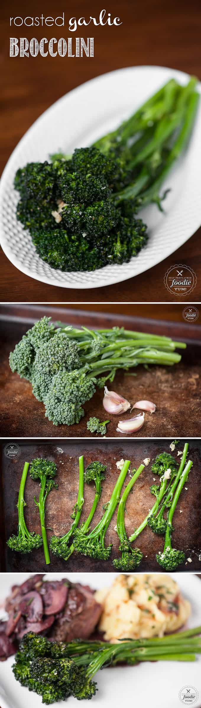 A side dish of tender Roasted Garlic Broccolini is not only super easy to make, but it is a delicious dark green vegetable perfect for any family dinner.