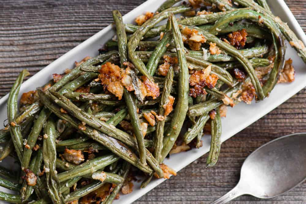 top view of Roasted Green Beans