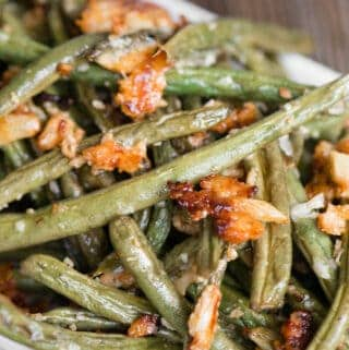 close up picture of Roasted Green Beans with parmesan