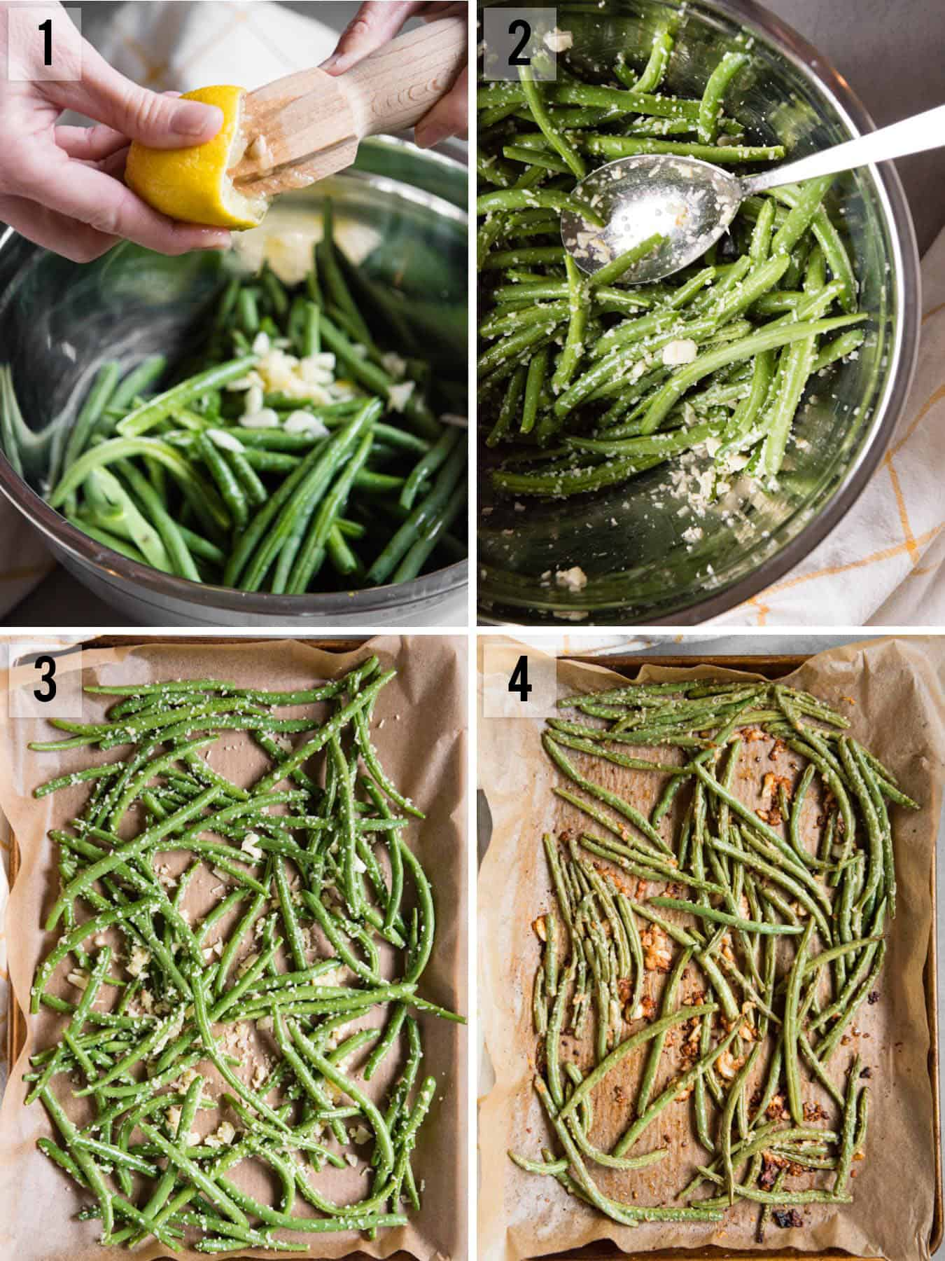 process photos for Roasted Green Beans recipe