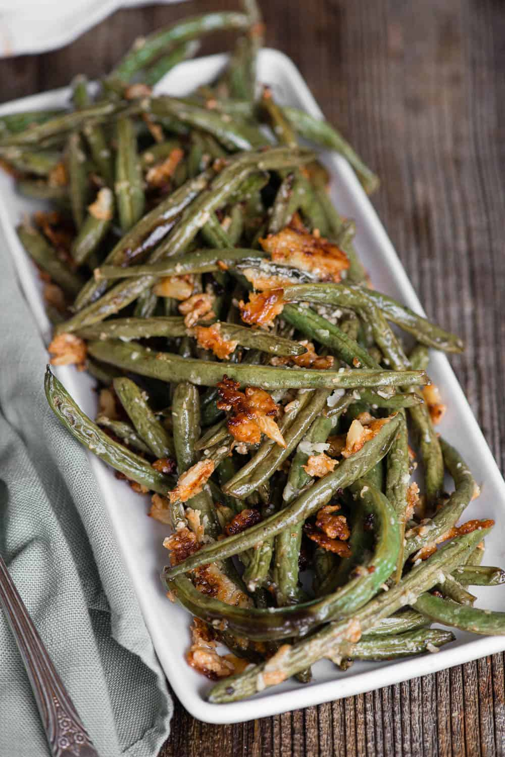 oven Roasted Green Beans on white plate