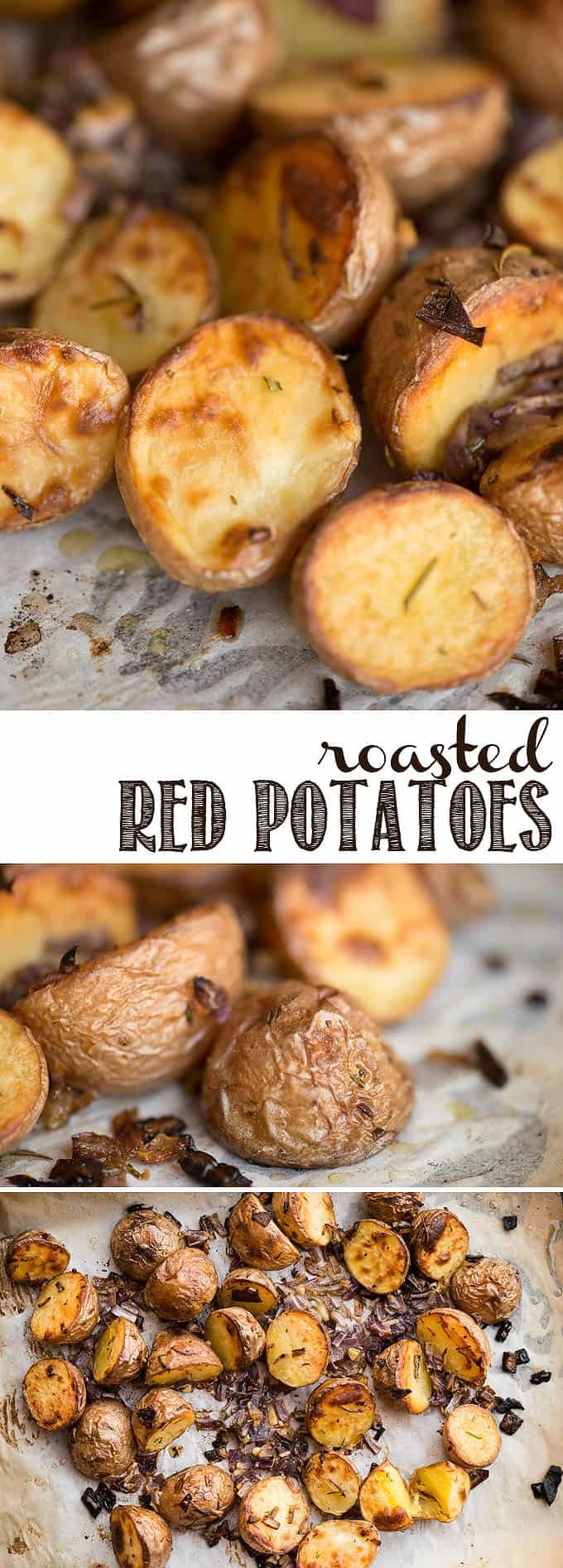 Roasted Red Potatoes are one of the tastiest and easiest vegetarian side dish recipes you can make! Baby red potatoes are halved and roasted in the oven with olive oil, red onion, fresh rosemary, garlic and salt. They are creamy on the inside and crispy on the outside. You won't find a better recipe! #roastedredpotatoes #redpotatoes #rosemary #roasted #sidedish #potatoes #oven #easy #rosemary #garlic #healthy #crispy