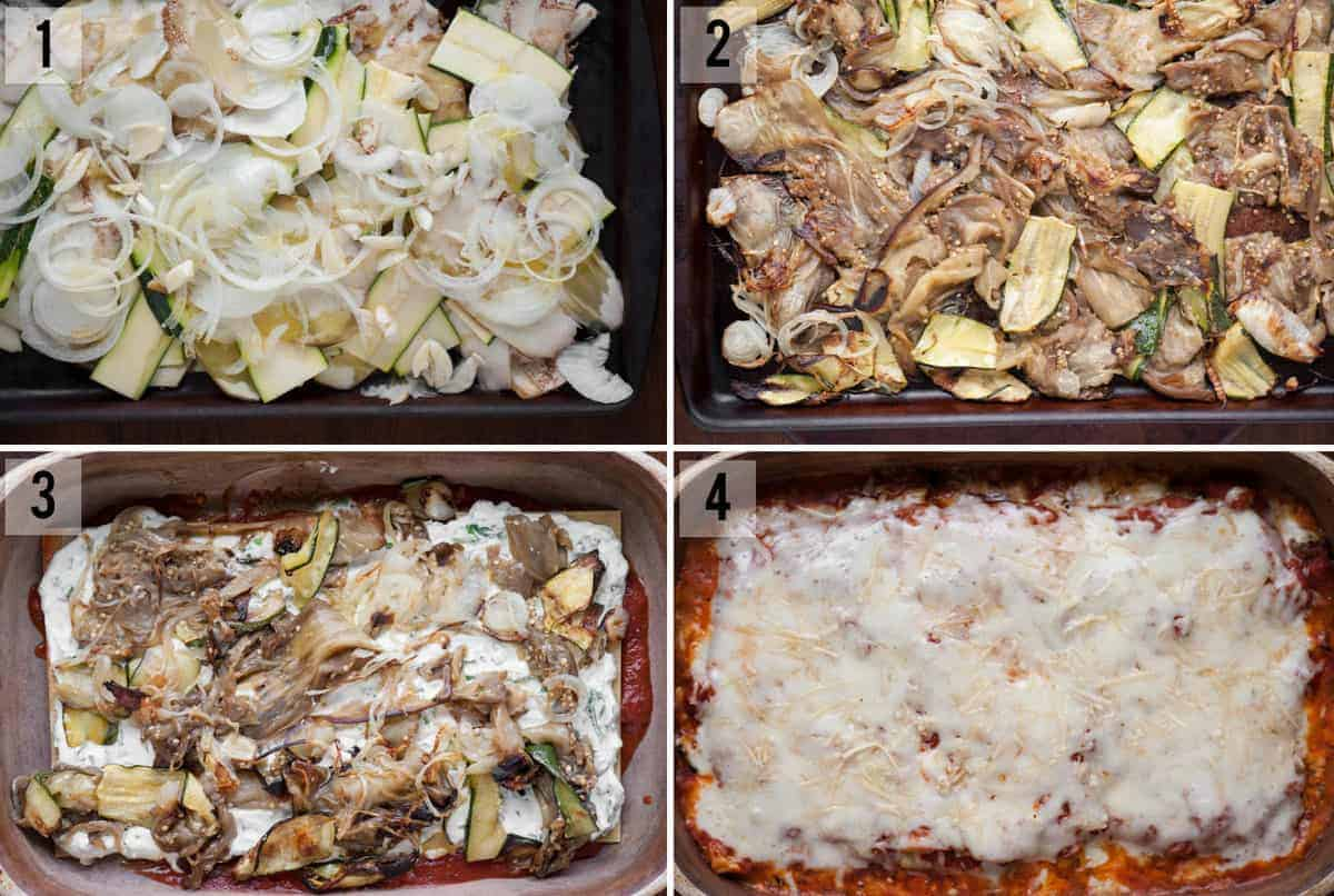 step by step process photos of how to assemble homemade lasagna with roasted vegetables