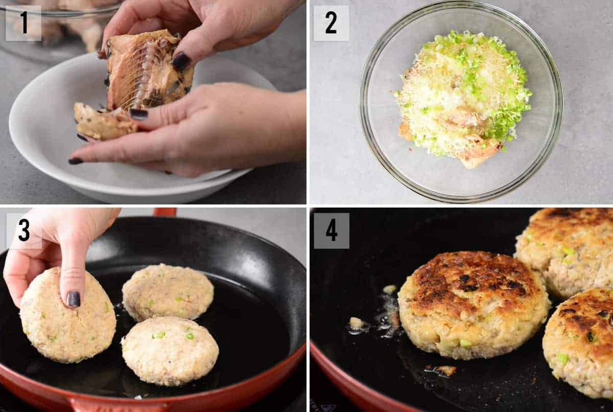 step by step photos of how to make salmon cakes