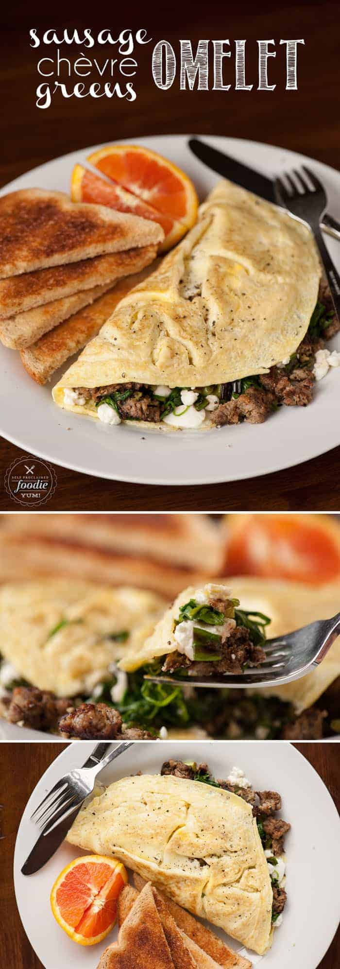 This Sausage Chèvre and Greens Omelet makes for a wonderful breakfast and has all the components you would want to start your morning right.
