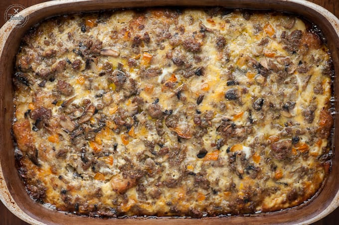 top of breakfast casserole made with sausage eggs and tater tots