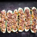 Top view of sausage Zucchini Boats