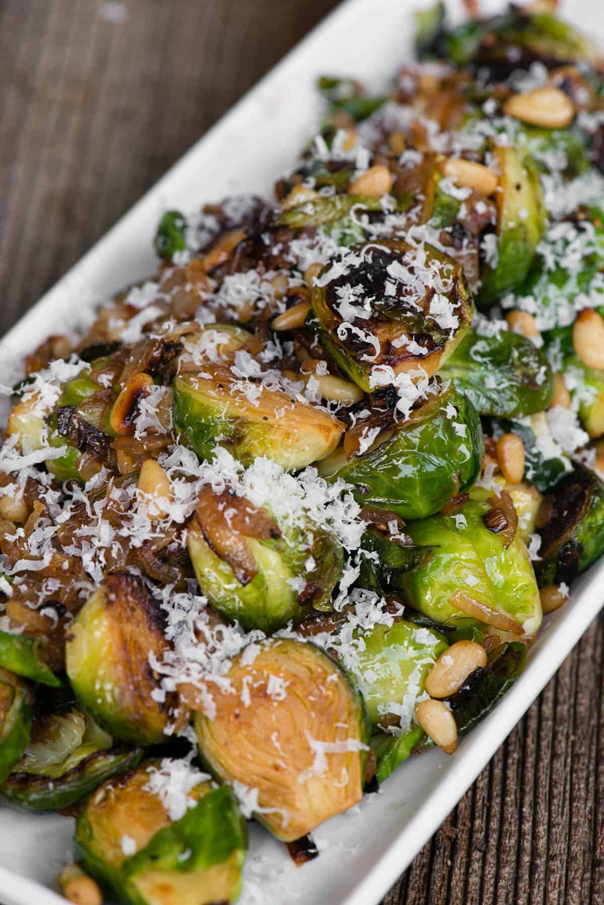Sautéed Brussels Sprouts on white platter